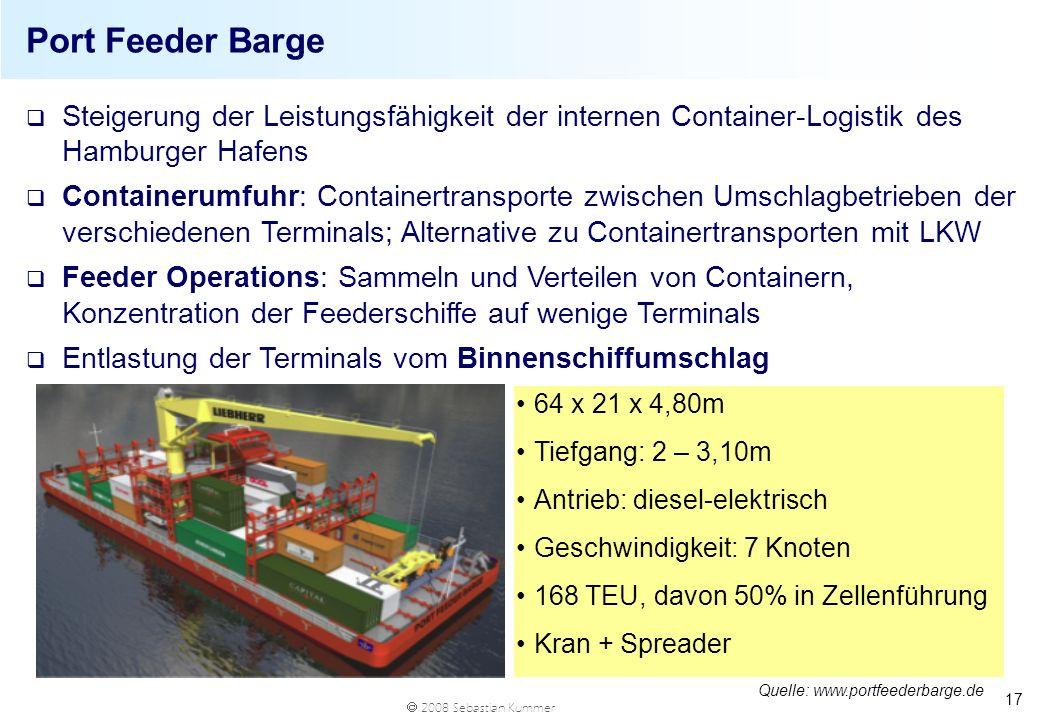 Port Feeder Barge Steigerung der Leistungsfähigkeit der internen Container-Logistik des Hamburger Hafens.