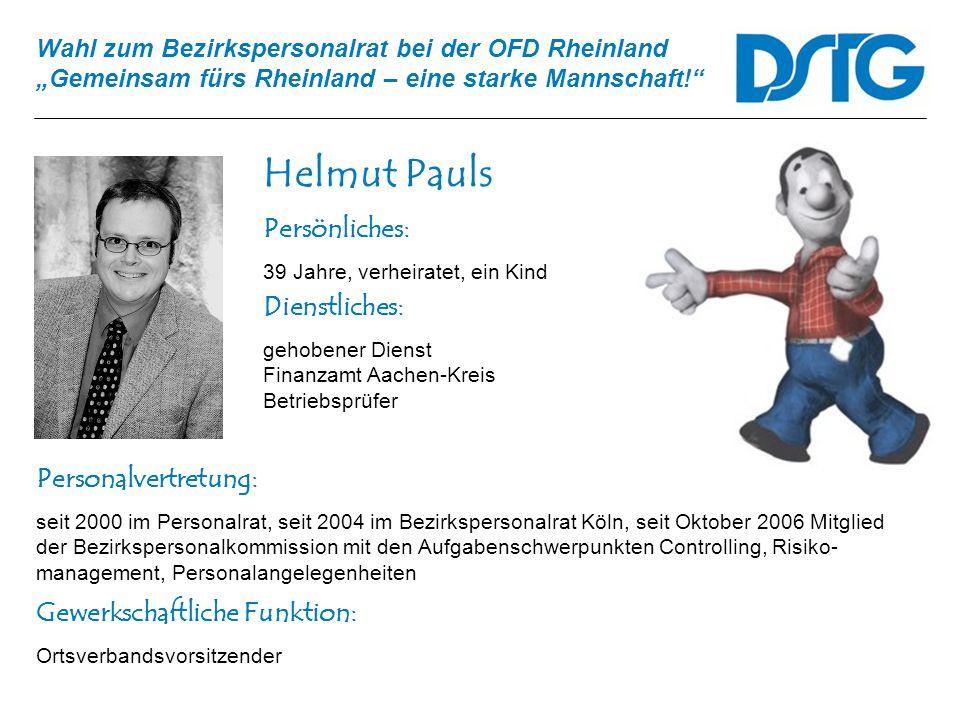 Helmut Pauls Persönliches: Dienstliches: Personalvertretung:
