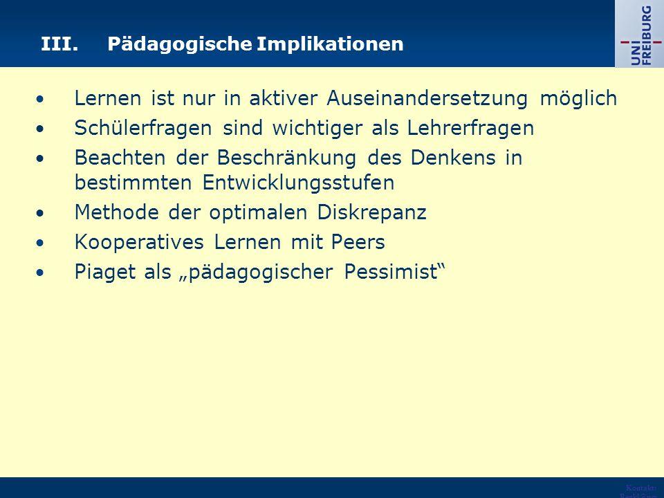 III. Pädagogische Implikationen