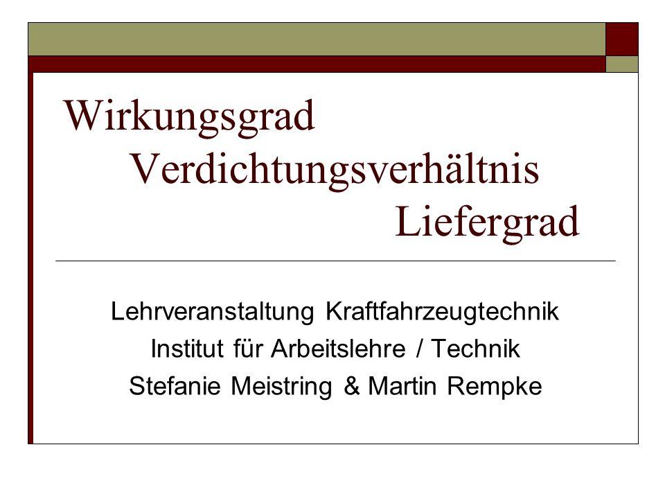 Wirkungsgrad Verdichtungsverhältnis Liefergrad