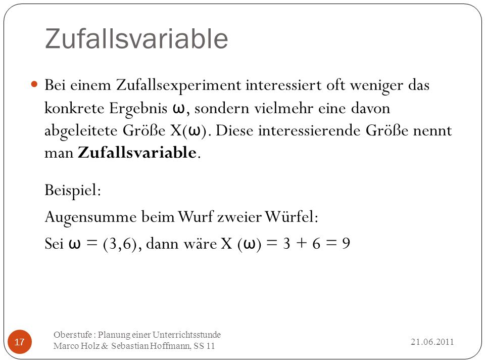 Zufallsvariable