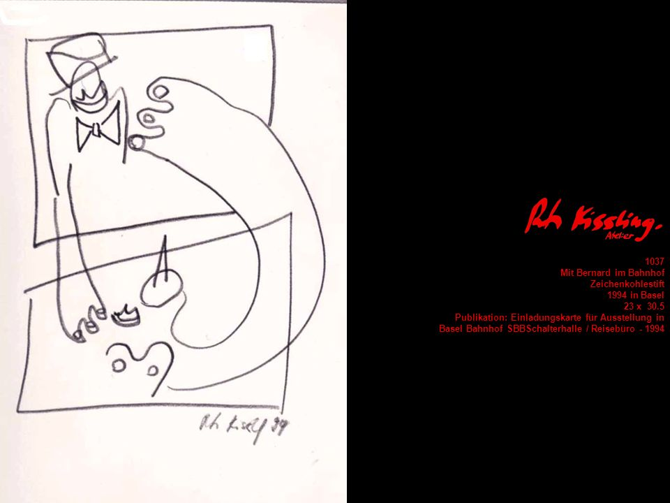 1037Mit Bernard im Bahnhof. Zeichenkohlestift. 1994 in Basel. 23 x 30.5. Publikation: Einladungskarte für Ausstellung in.