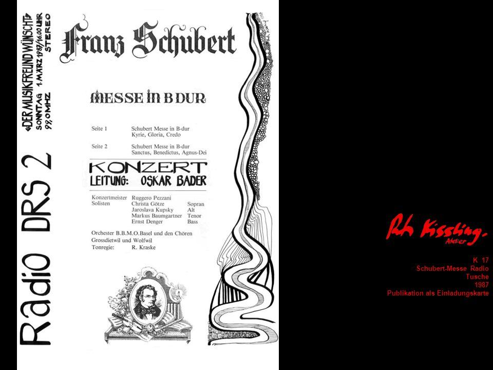 K 17 Schubert-Messe Radio Tusche 1987 Publikation als Einladungskarte