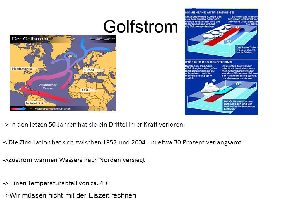 Golfstrom -> In den letzen 50 Jahren hat sie ein Drittel ihrer Kraft verloren.