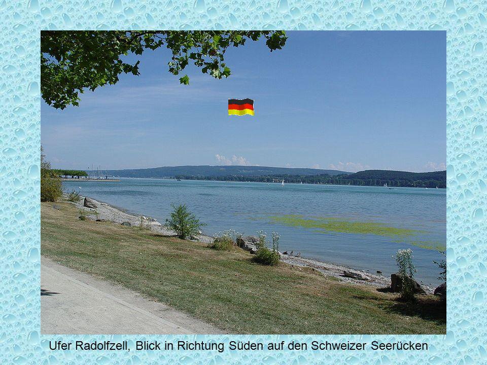 Ufer Radolfzell, Blick in Richtung Süden auf den Schweizer Seerücken