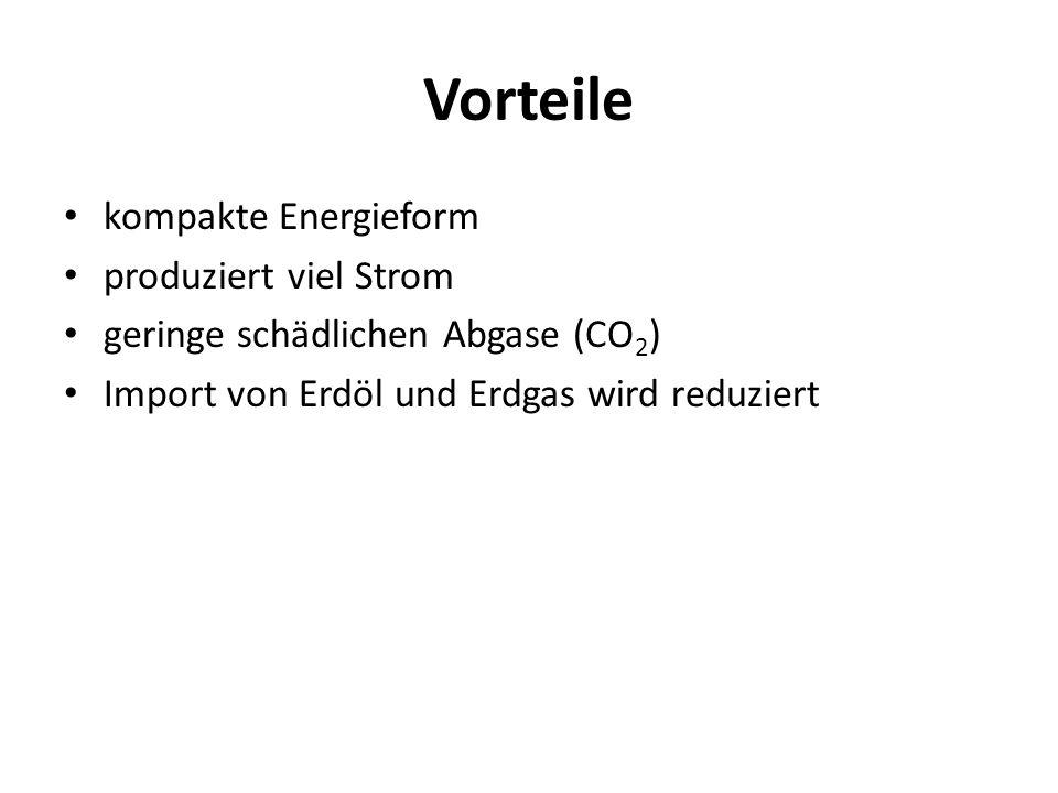 Vorteile kompakte Energieform produziert viel Strom