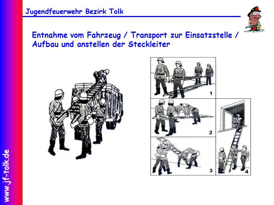 Entnahme vom Fahrzeug / Transport zur Einsatzstelle / Aufbau und anstellen der Steckleiter