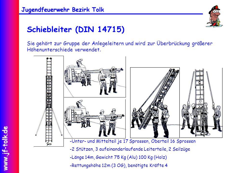 Schiebleiter (DIN 14715) Sie gehört zur Gruppe der Anlegeleitern und wird zur Überbrückung größerer Höhenunterschiede verwendet.