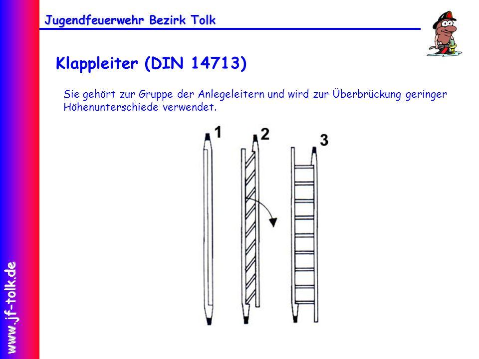 Klappleiter (DIN 14713) Sie gehört zur Gruppe der Anlegeleitern und wird zur Überbrückung geringer Höhenunterschiede verwendet.