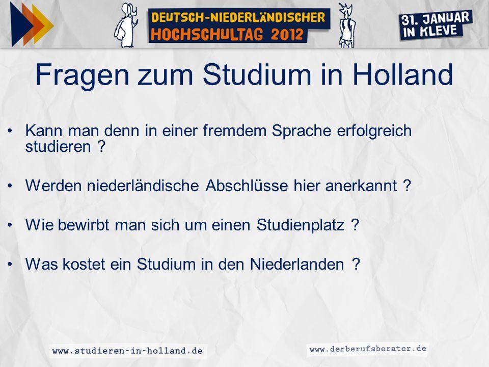 Fragen zum Studium in Holland