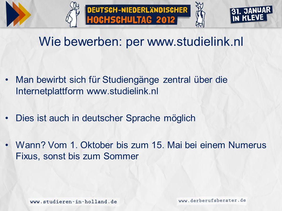 Wie bewerben: per www.studielink.nl