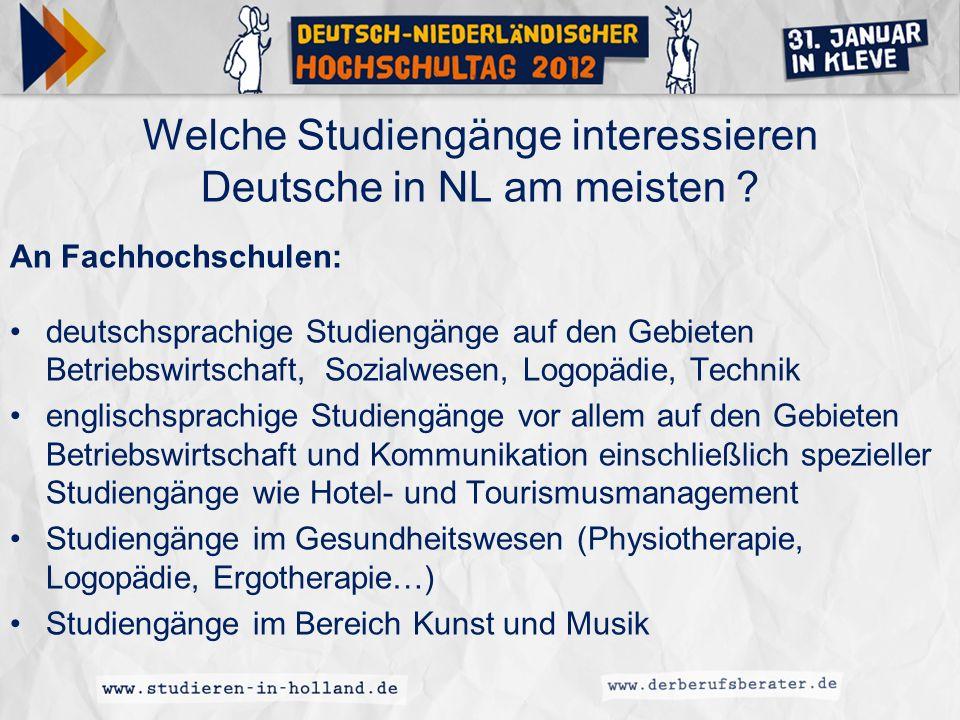 Welche Studiengänge interessieren Deutsche in NL am meisten