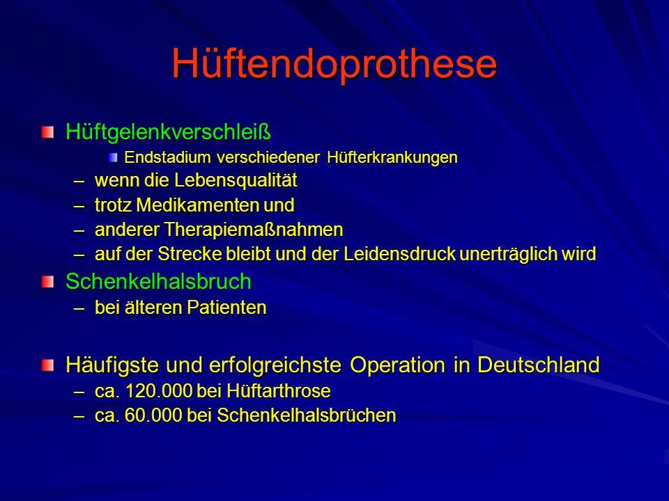 Hüftendoprothese Hüftgelenkverschleiß Schenkelhalsbruch
