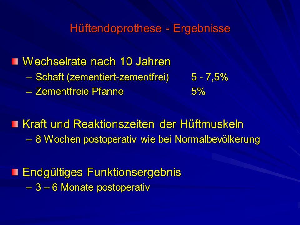 Hüftendoprothese - Ergebnisse