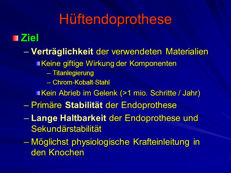Hüftendoprothese Ziel Verträglichkeit der verwendeten Materialien