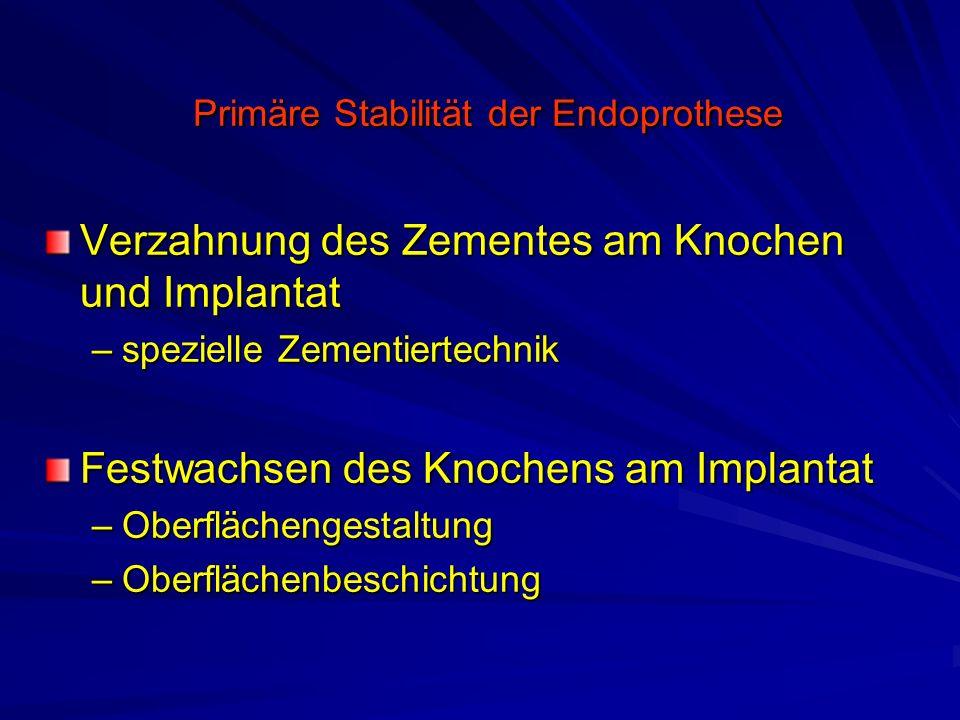 Primäre Stabilität der Endoprothese