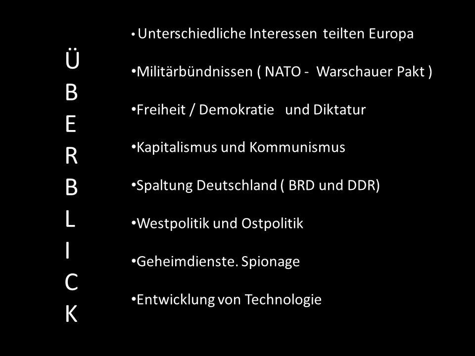 Ü B E R B L I C K Militärbündnissen ( NATO - Warschauer Pakt )