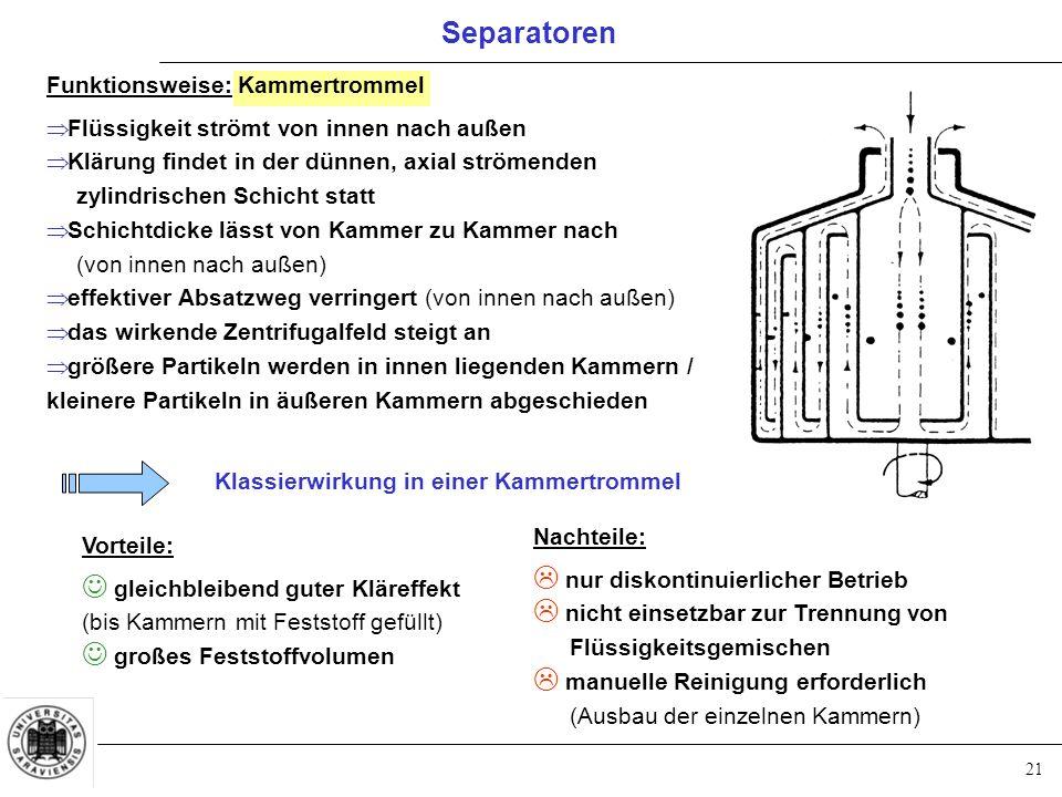 Separatoren Funktionsweise: Kammertrommel