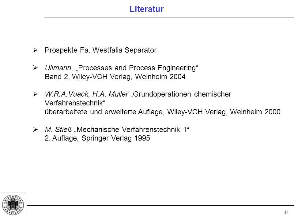 Literatur Prospekte Fa. Westfalia Separator