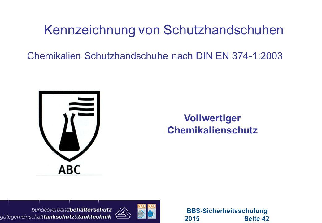 Vollwertiger Chemikalienschutz BBS-Sicherheitsschulung 2015 Seite 42