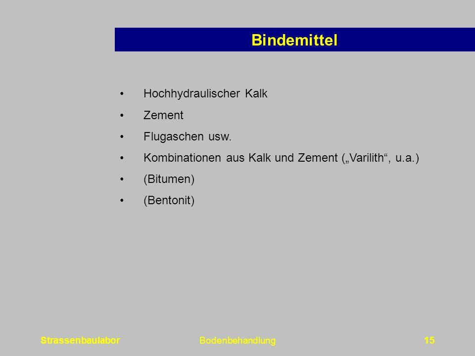 Bindemittel Hochhydraulischer Kalk Zement Flugaschen usw.