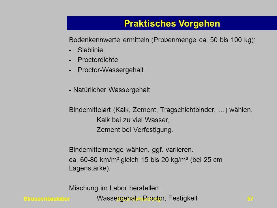 Praktisches Vorgehen Bodenkennwerte ermitteln (Probenmenge ca. 50 bis 100 kg): Sieblinie, Proctordichte.