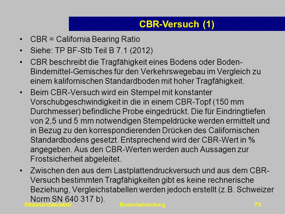 CBR-Versuch (1) CBR = California Bearing Ratio