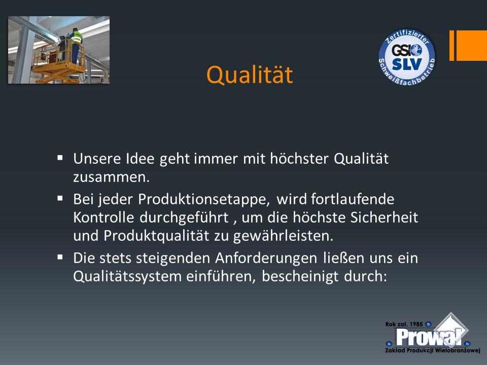 Qualität Unsere Idee geht immer mit höchster Qualität zusammen.