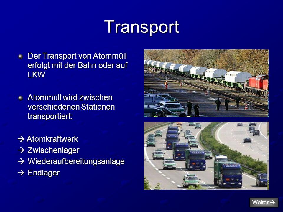 Transport Der Transport von Atommüll erfolgt mit der Bahn oder auf LKW