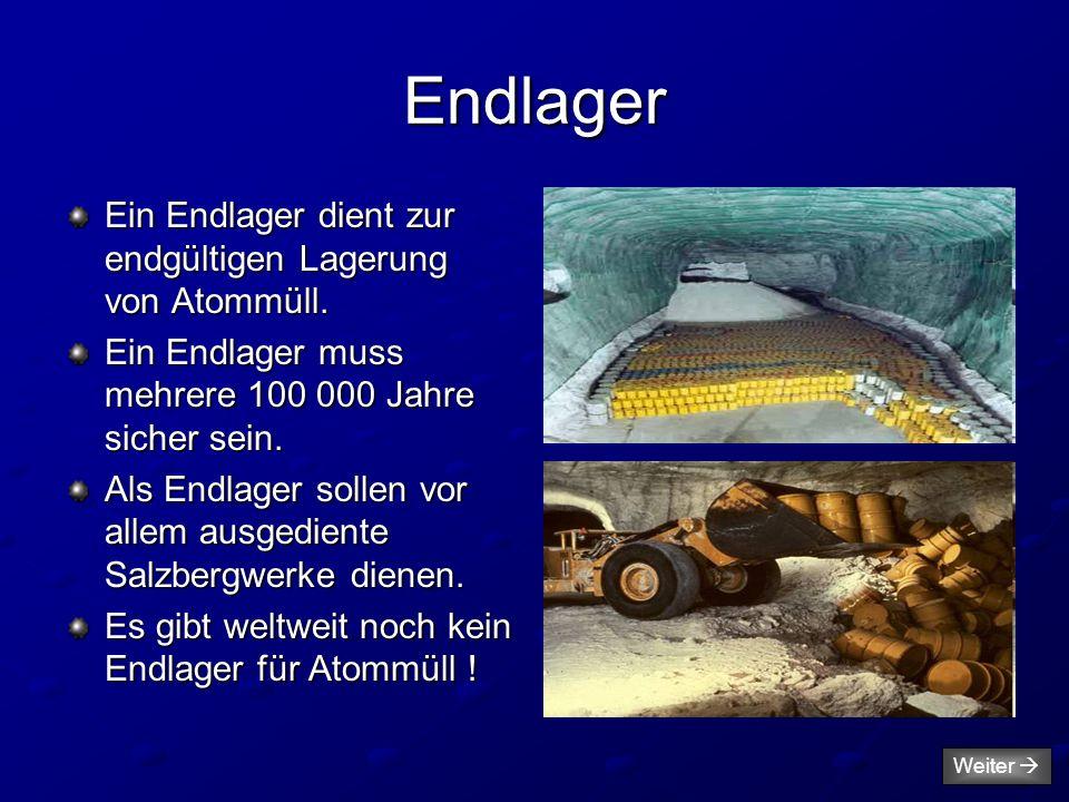 Endlager Ein Endlager dient zur endgültigen Lagerung von Atommüll.