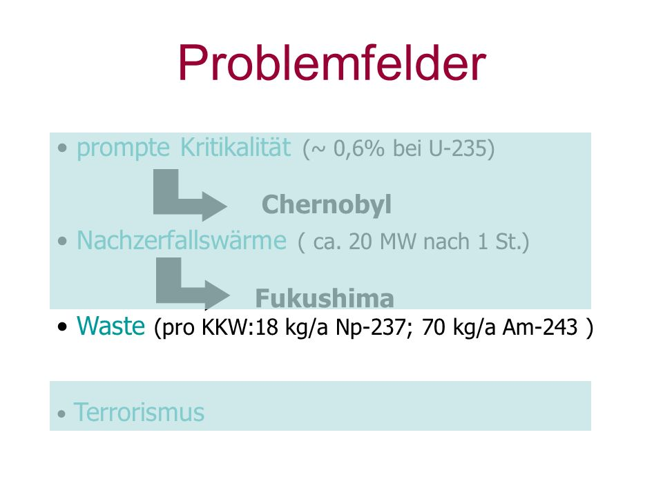 Problemfelder prompte Kritikalität (~ 0,6% bei U-235)