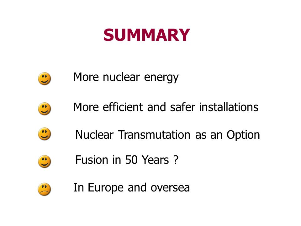 SUMMARY More nuclear energy More efficient and safer installations