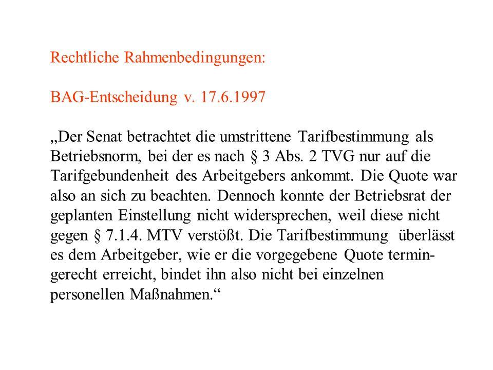 Rechtliche Rahmenbedingungen: BAG-Entscheidung v. 17. 6