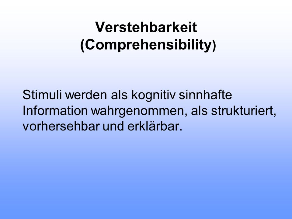 Verstehbarkeit (Comprehensibility)