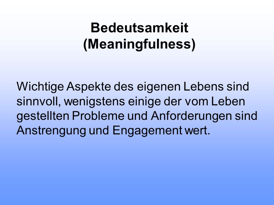 Bedeutsamkeit (Meaningfulness)