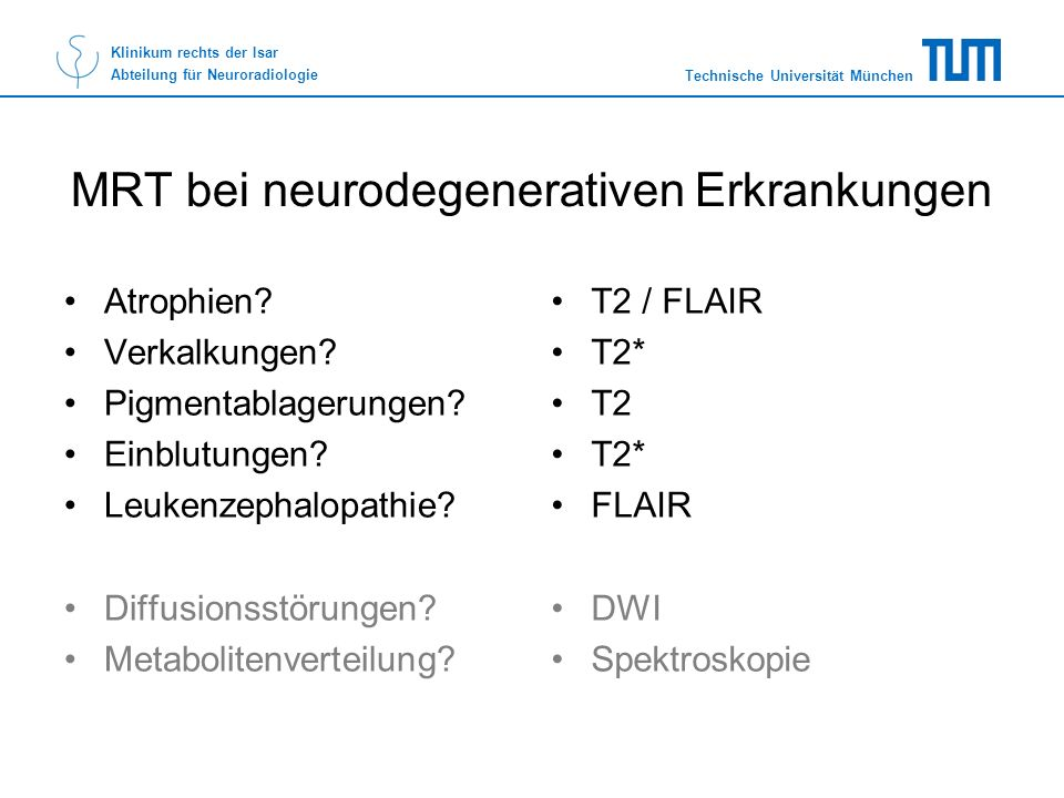 MRT bei neurodegenerativen Erkrankungen