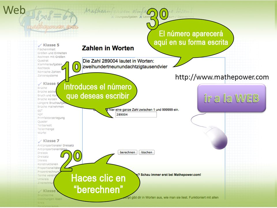 Web http://www.mathepower.com ir a la WEB