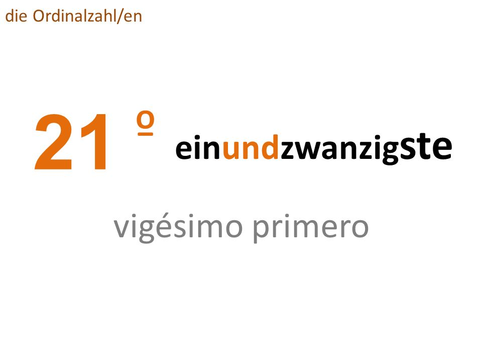 die Ordinalzahl/en 21 º einundzwanzigste vigésimo primero