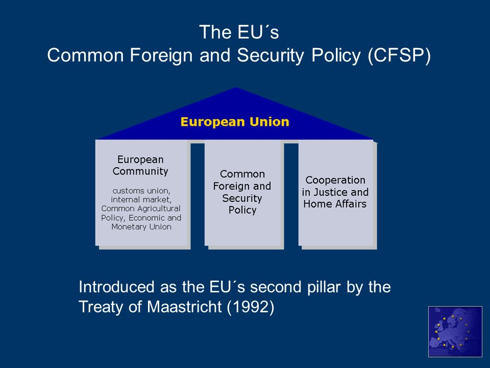 """common foreign and security policy in the european union Abstract this chapter takes stock of """"the common"""" in the european union's common foreign and security policy doing so, the chapter analyses the common foreign and security policy (cfsp) both in terms of institutions and substantive policies."""