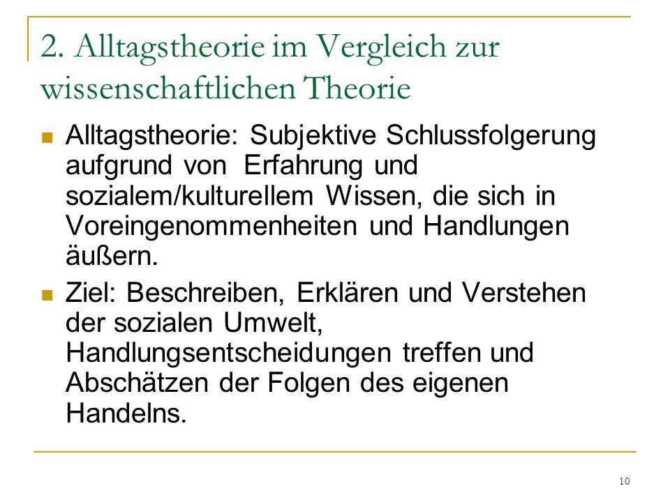 2. Alltagstheorie im Vergleich zur wissenschaftlichen Theorie