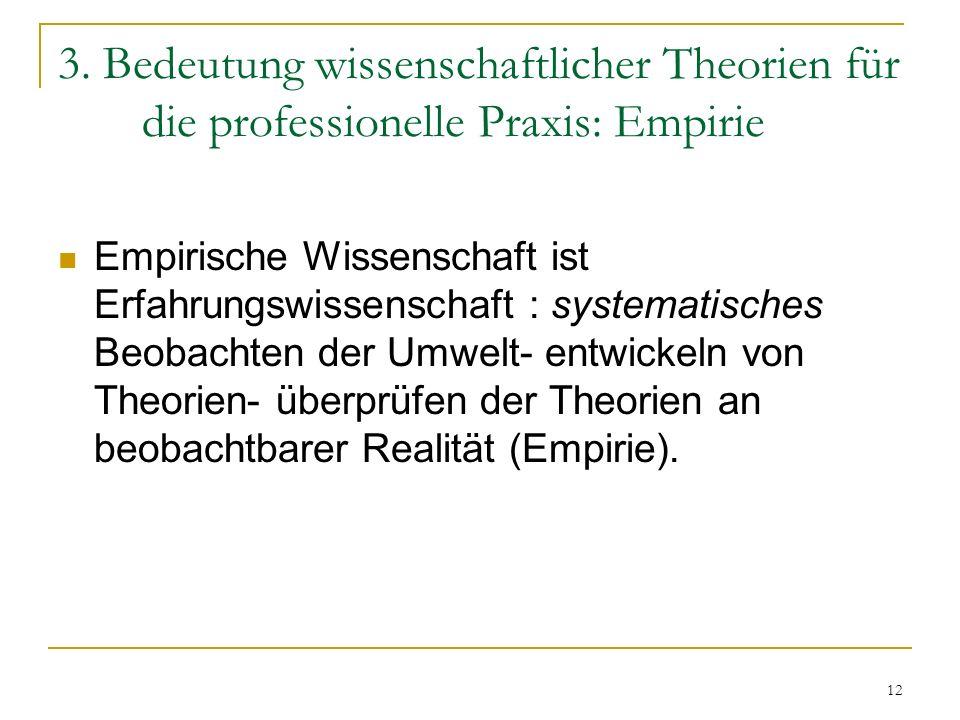 3. Bedeutung wissenschaftlicher Theorien für die professionelle Praxis: Empirie