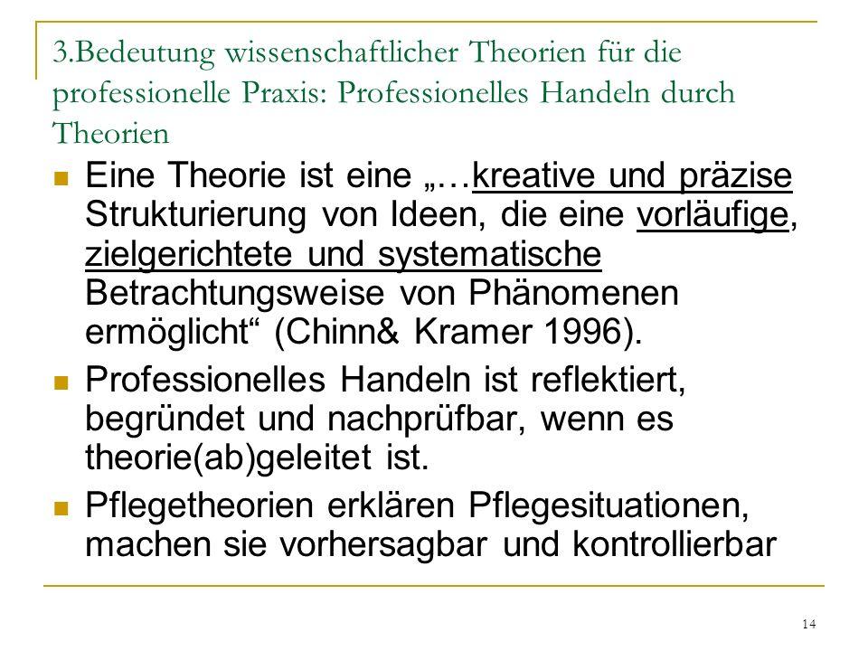 3.Bedeutung wissenschaftlicher Theorien für die professionelle Praxis: Professionelles Handeln durch Theorien