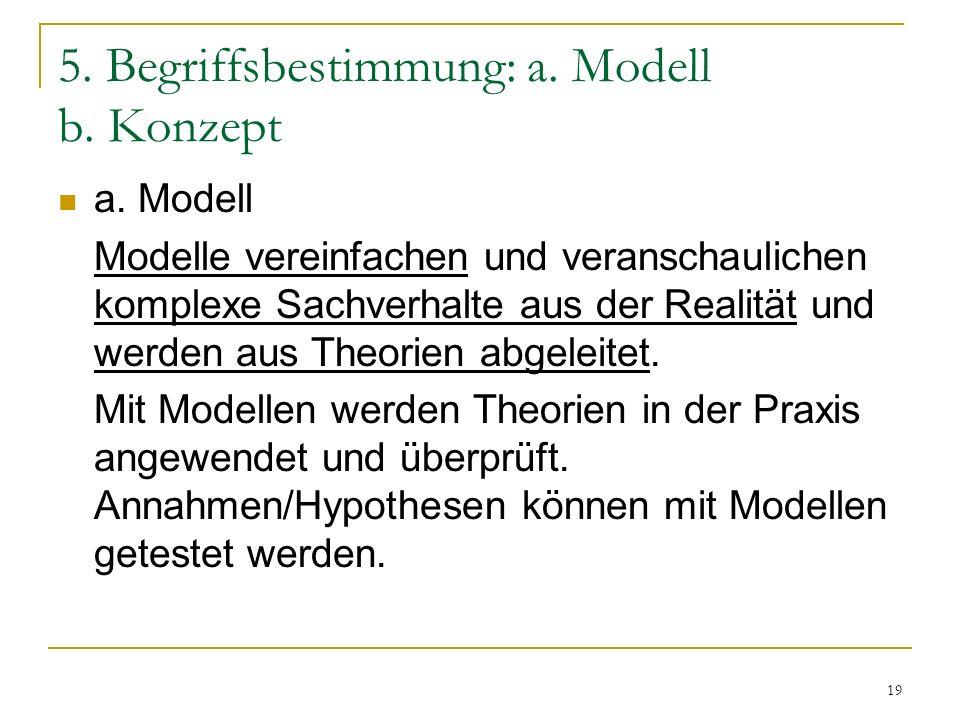 5. Begriffsbestimmung: a. Modell b. Konzept