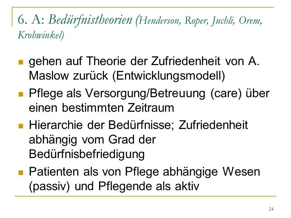 6. A: Bedürfnistheorien (Henderson, Roper, Juchli, Orem, Krohwinkel)