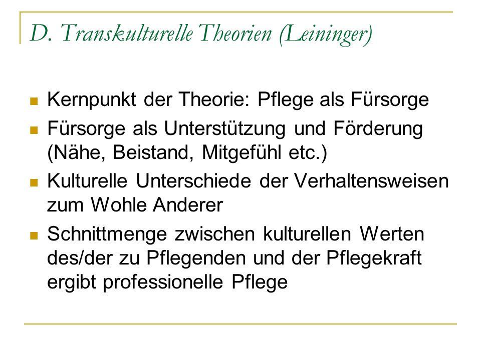 D. Transkulturelle Theorien (Leininger)