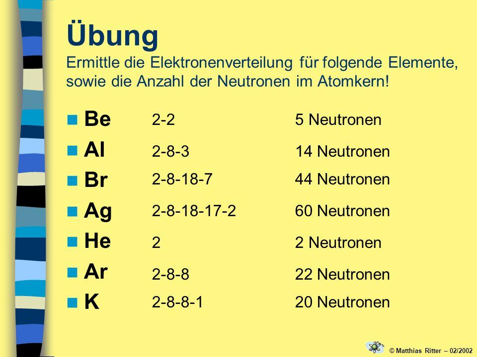 Übung Ermittle die Elektronenverteilung für folgende Elemente, sowie die Anzahl der Neutronen im Atomkern!