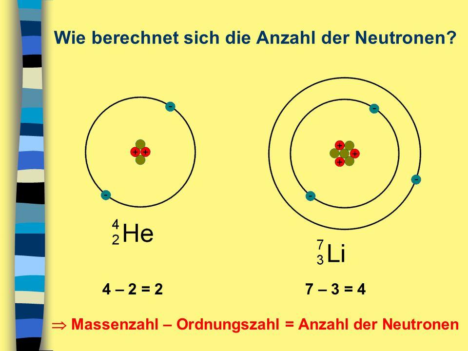 Wie berechnet sich die Anzahl der Neutronen