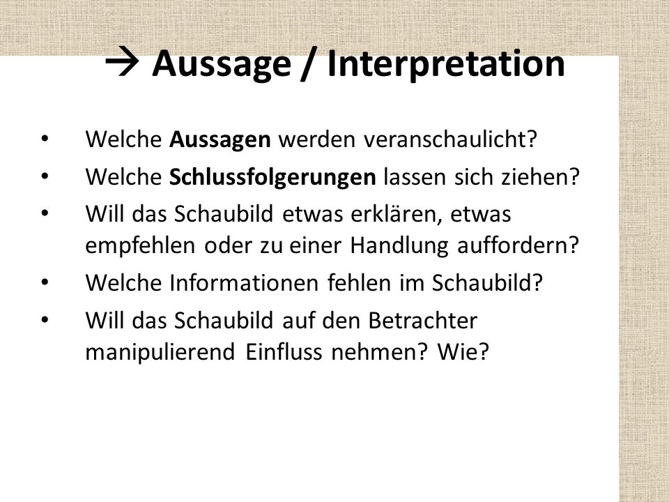  Aussage / Interpretation