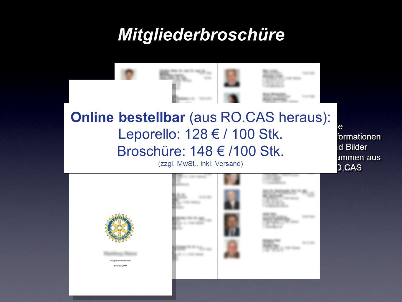 Mitgliederbroschüre Online bestellbar (aus RO.CAS heraus):