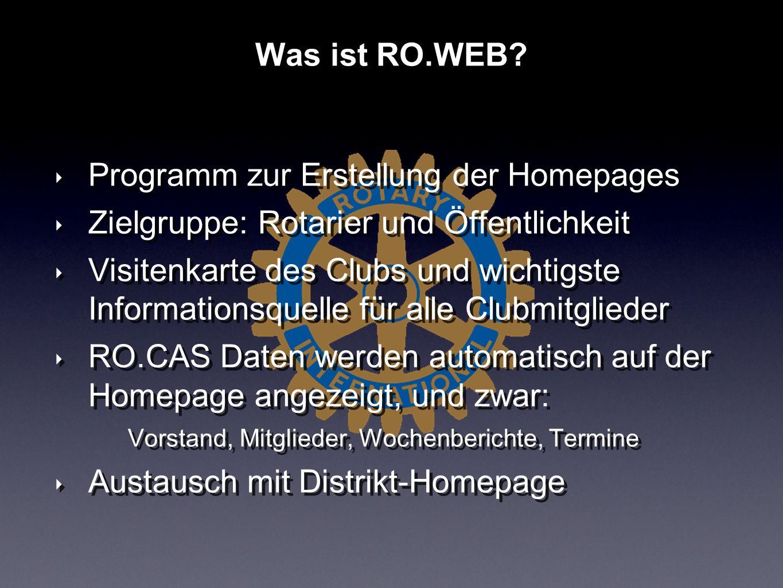 Programm zur Erstellung der Homepages